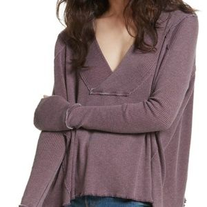 We the Free Purple Oceanview Plunging V Neck Top
